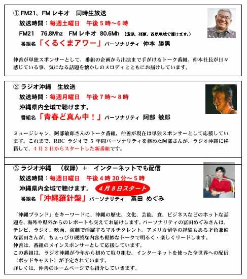 仲善スポンサーのラジオ番組・沖縄県内で好評放送中!